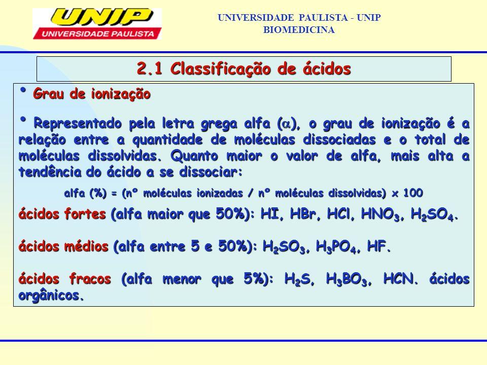 UNIVERSIDADE PAULISTA - UNIP BIOMEDICINA 2.1 Classificação de ácidos Grau de ionização Grau de ionização Representado pela letra grega alfa ( ), o gra