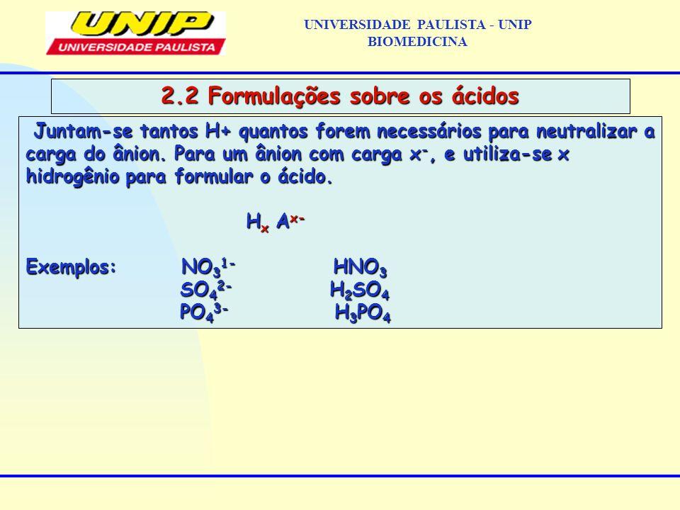 UNIVERSIDADE PAULISTA - UNIP BIOMEDICINA 2.2 Formulações sobre os ácidos Juntam-se tantos H+ quantos forem necessários para neutralizar a carga do âni