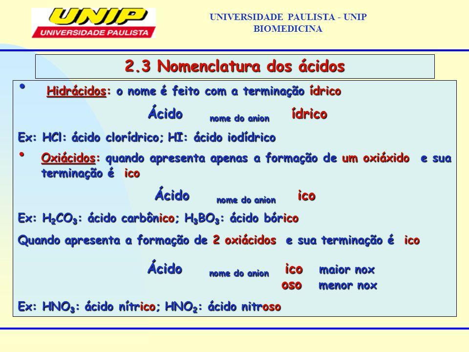 UNIVERSIDADE PAULISTA - UNIP BIOMEDICINA 2.3 Nomenclatura dos ácidos Hidrácidos: o nome é feito com a terminação ídrico Hidrácidos: o nome é feito com