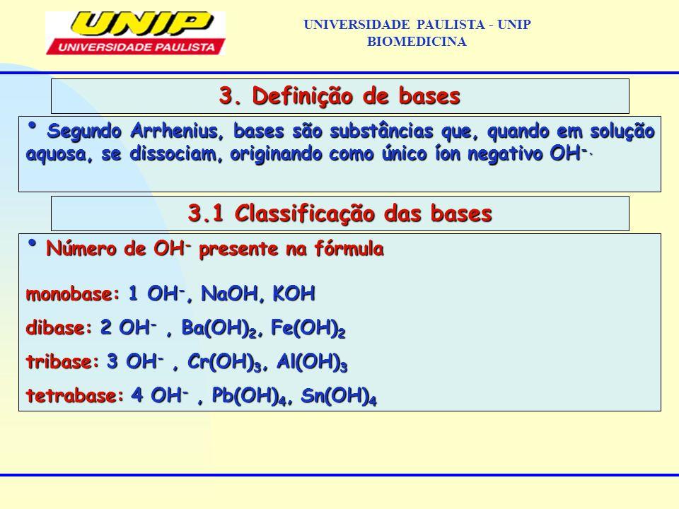 Segundo Arrhenius, bases são substâncias que, quando em solução aquosa, se dissociam, originando como único íon negativo OH -. Segundo Arrhenius, base