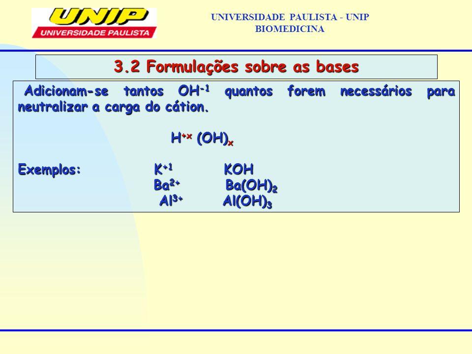 UNIVERSIDADE PAULISTA - UNIP BIOMEDICINA 3.2 Formulações sobre as bases Adicionam-se tantos OH -1 quantos forem necessários para neutralizar a carga d
