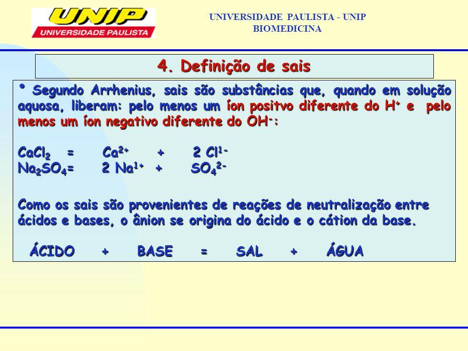 Segundo Arrhenius, sais são substâncias que, quando em solução aquosa, liberam: pelo menos um íon positvo diferente do H + e pelo menos um íon negativ