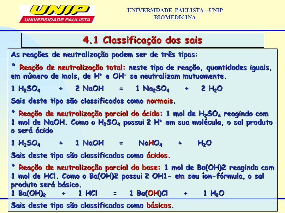 As reações de neutralização podem ser de três tipos: Reação de neutralização total: neste tipo de reação, quantidades iguais, em número de mols, de H