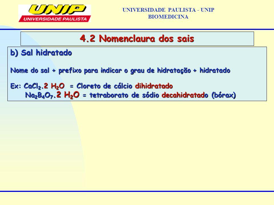 b) Sal hidratado Nome do sal + prefixo para indicar o grau de hidratação + hidratado Nome do sal + prefixo para indicar o grau de hidratação + hidrata