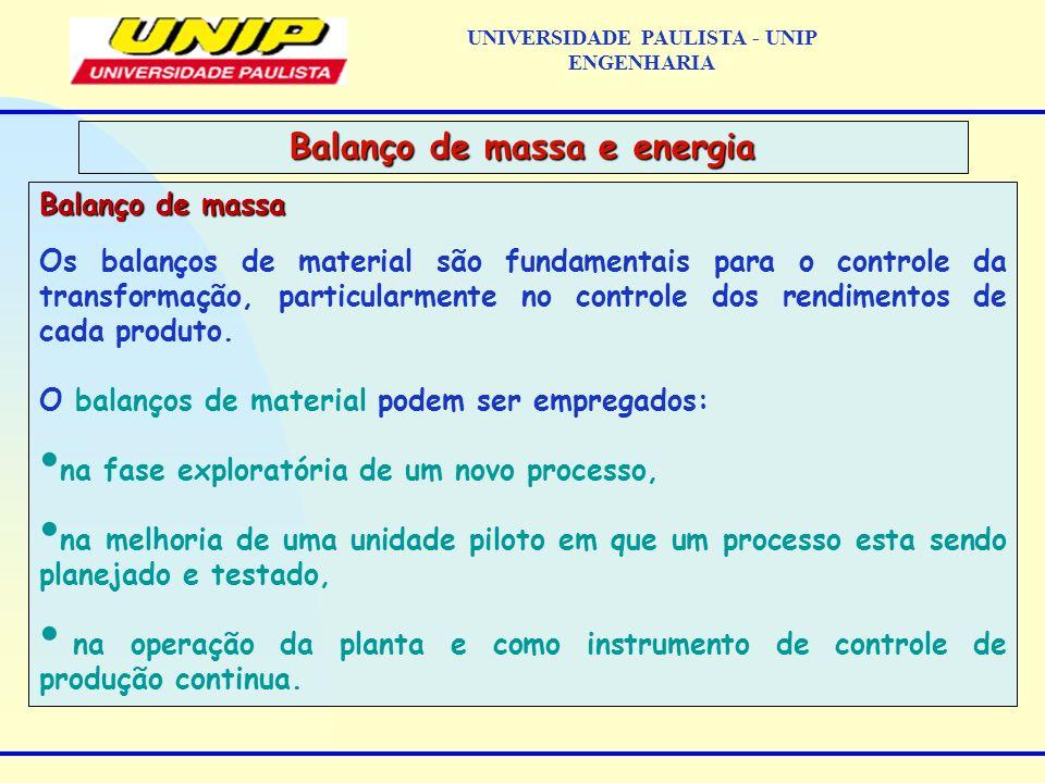 Balanço de massa Os balanços de material são fundamentais para o controle da transformação, particularmente no controle dos rendimentos de cada produto.