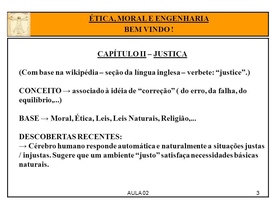 3AULA 02 ÉTICA, MORAL E ENGENHARIA BEM VINDO ! CAPÍTULO II – JUSTIÇA (Com base na wikipédia – seção da língua inglesa – verbete: justice.) CONCEITO as