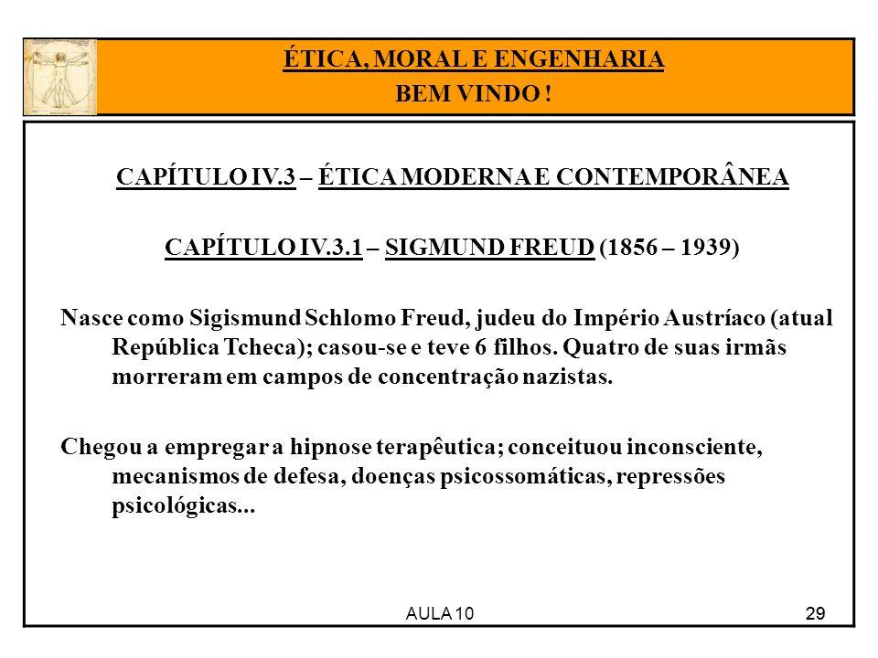 AULA 10 29 CAPÍTULO IV.3 – ÉTICA MODERNA E CONTEMPORÂNEA CAPÍTULO IV.3.1 – SIGMUND FREUD (1856 – 1939) Nasce como Sigismund Schlomo Freud, judeu do Im