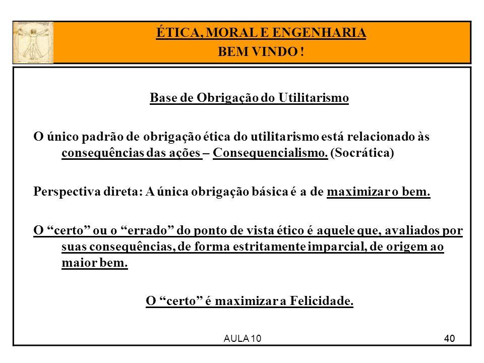 AULA 10 40 Base de Obrigação do Utilitarismo O único padrão de obrigação ética do utilitarismo está relacionado às consequências das ações – Consequen