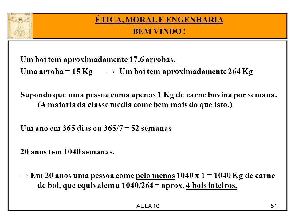 AULA 10 51 Um boi tem aproximadamente 17,6 arrobas. Uma arroba = 15 Kg Um boi tem aproximadamente 264 Kg Supondo que uma pessoa coma apenas 1 Kg de ca