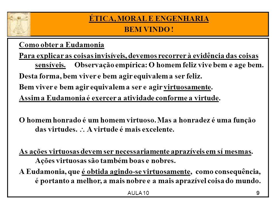 AULA 10 9 Como obter a Eudamonia Para explicar as coisas invisíveis, devemos recorrer à evidência das coisas sensíveis. Observação empírica: O homem f