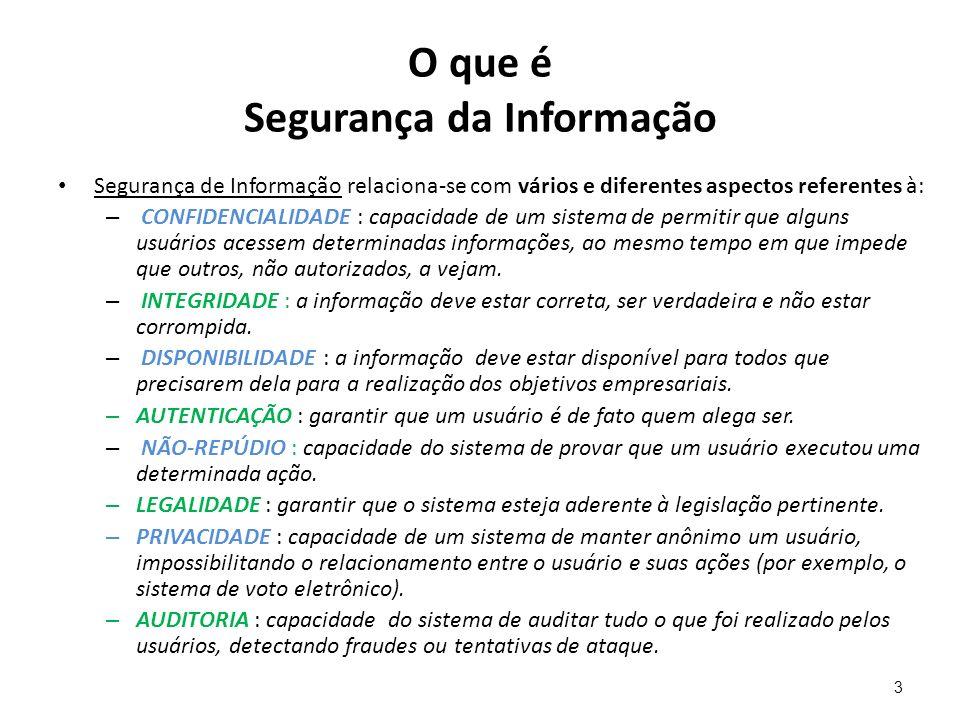 O que é Segurança da Informação Segurança de Informação relaciona-se com vários e diferentes aspectos referentes à: – CONFIDENCIALIDADE : capacidade d