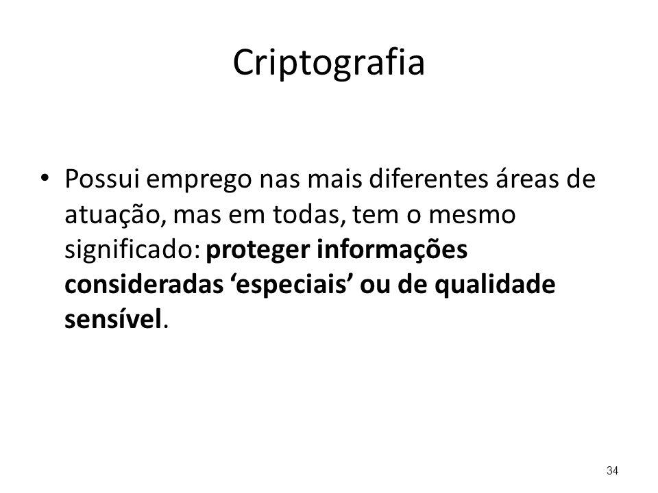 Criptografia Possui emprego nas mais diferentes áreas de atuação, mas em todas, tem o mesmo significado: proteger informações consideradas especiais o