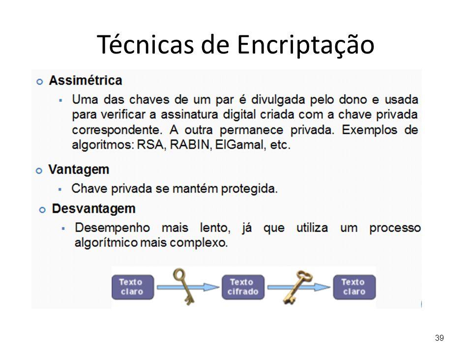 Técnicas de Encriptação 39