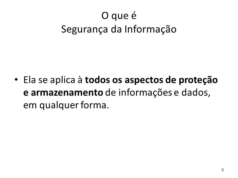 O que é Segurança da Informação Ela se aplica à todos os aspectos de proteção e armazenamento de informações e dados, em qualquer forma. 5