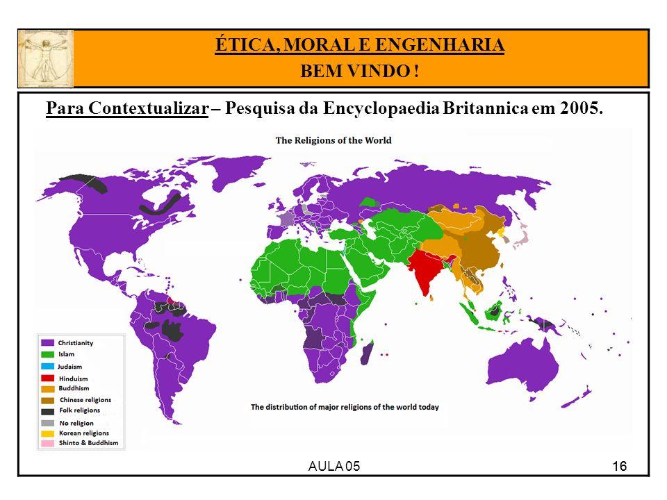 AULA 05 16 Para Contextualizar – Pesquisa da Encyclopaedia Britannica em 2005. 16 ÉTICA, MORAL E ENGENHARIA BEM VINDO !