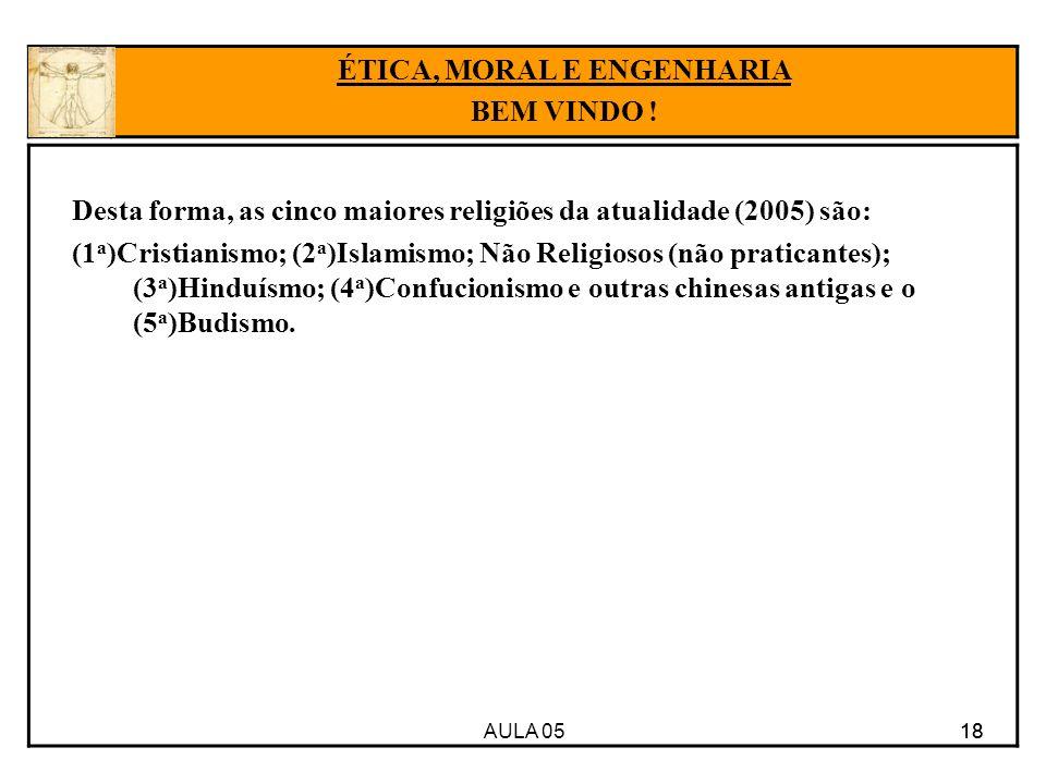 AULA 05 18 Desta forma, as cinco maiores religiões da atualidade (2005) são: (1 a )Cristianismo; (2 a )Islamismo; Não Religiosos (não praticantes); (3