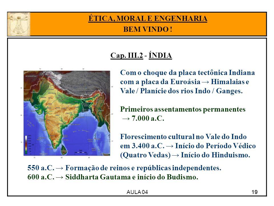 AULA 04 19 Cap. III.2 - ÍNDIA 19 ÉTICA, MORAL E ENGENHARIA BEM VINDO ! Com o choque da placa tectônica Indiana com a placa da Euroásia Himalaias e Val