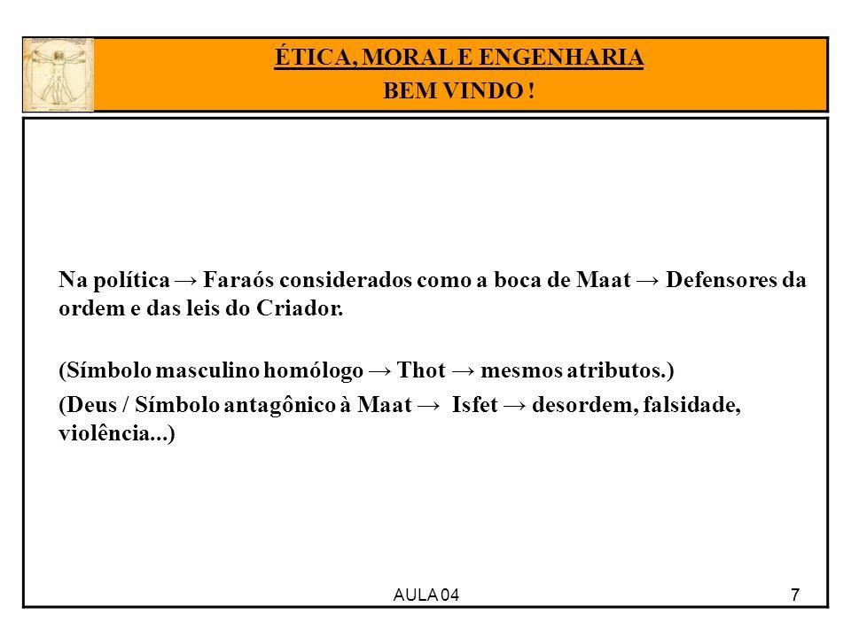AULA 04 7 Na política Faraós considerados como a boca de Maat Defensores da ordem e das leis do Criador. (Símbolo masculino homólogo Thot mesmos atrib
