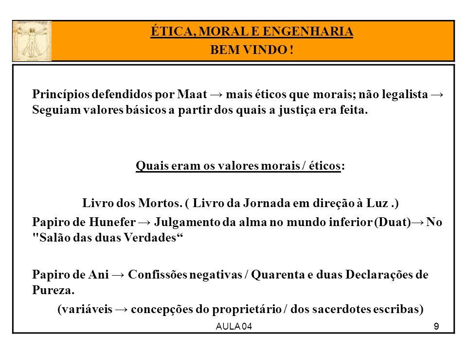AULA 04 9 Princípios defendidos por Maat mais éticos que morais; não legalista Seguiam valores básicos a partir dos quais a justiça era feita. Quais e
