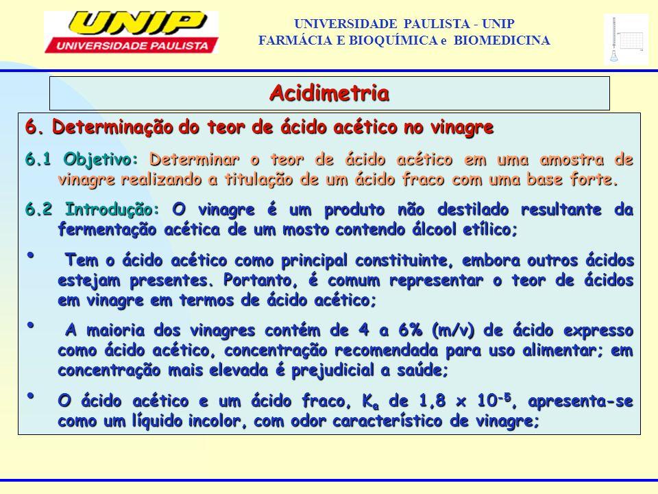 6. Determinação do teor de ácido acético no vinagre 6.1 Objetivo: Determinar o teor de ácido acético em uma amostra de vinagre realizando a titulação