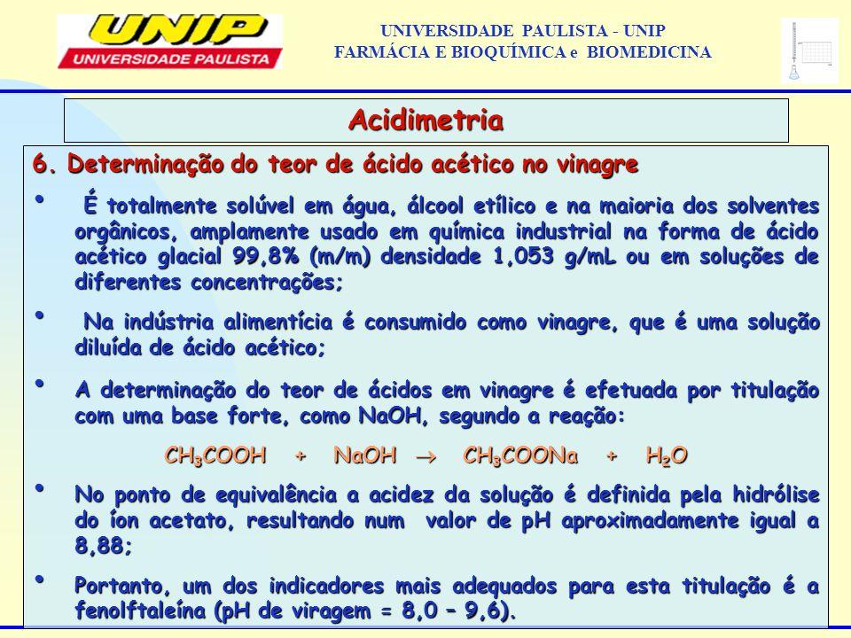 6. Determinação do teor de ácido acético no vinagre É totalmente solúvel em água, álcool etílico e na maioria dos solventes orgânicos, amplamente usad