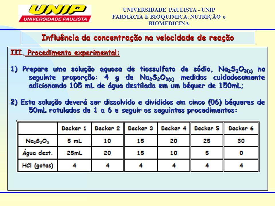 III. Procedimento experimental: 1) Prepare uma solução aquosa de tiossulfato de sódio, Na 2 S 2 O 3(s) na seguinte proporção: 4 g de Na 2 S 2 O 3(s) m