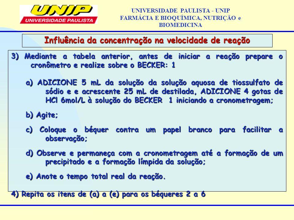 3) Mediante a tabela anterior, antes de iniciar a reação prepare o cronômetro e realize sobre o BECKER: 1 a) ADICIONE 5 mL da solução da solução aquos