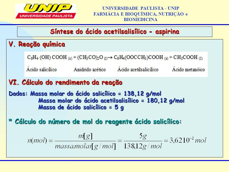 V. Reação química VI. Cálculo do rendimento da reação Dados: Massa molar do ácido salicílico = 138,12 g/mol Massa molar do ácido acetilsalisílico = 18