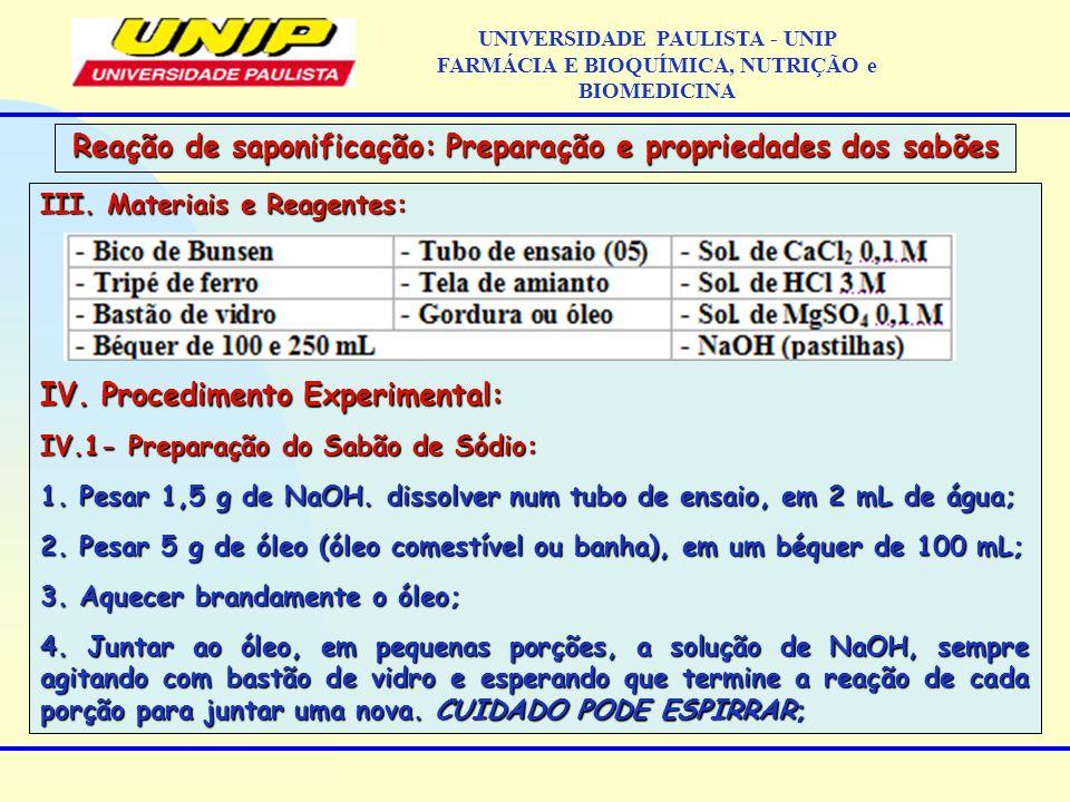 III. Materiais e Reagentes: IV. Procedimento Experimental: IV.1- Preparação do Sabão de Sódio: 1. Pesar 1,5 g de NaOH. dissolver num tubo de ensaio, e
