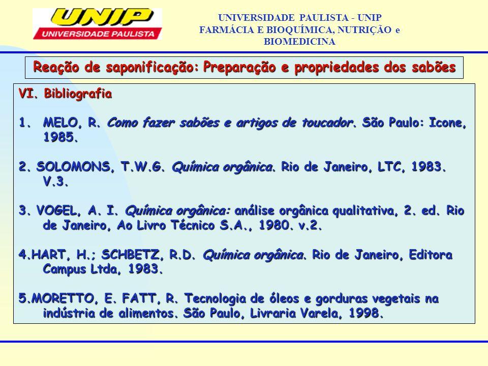 VI. Bibliografia 1.MELO, R. Como fazer sabões e artigos de toucador. São Paulo: Icone, 1985. 2. SOLOMONS, T.W.G. Química orgânica. Rio de Janeiro, LTC
