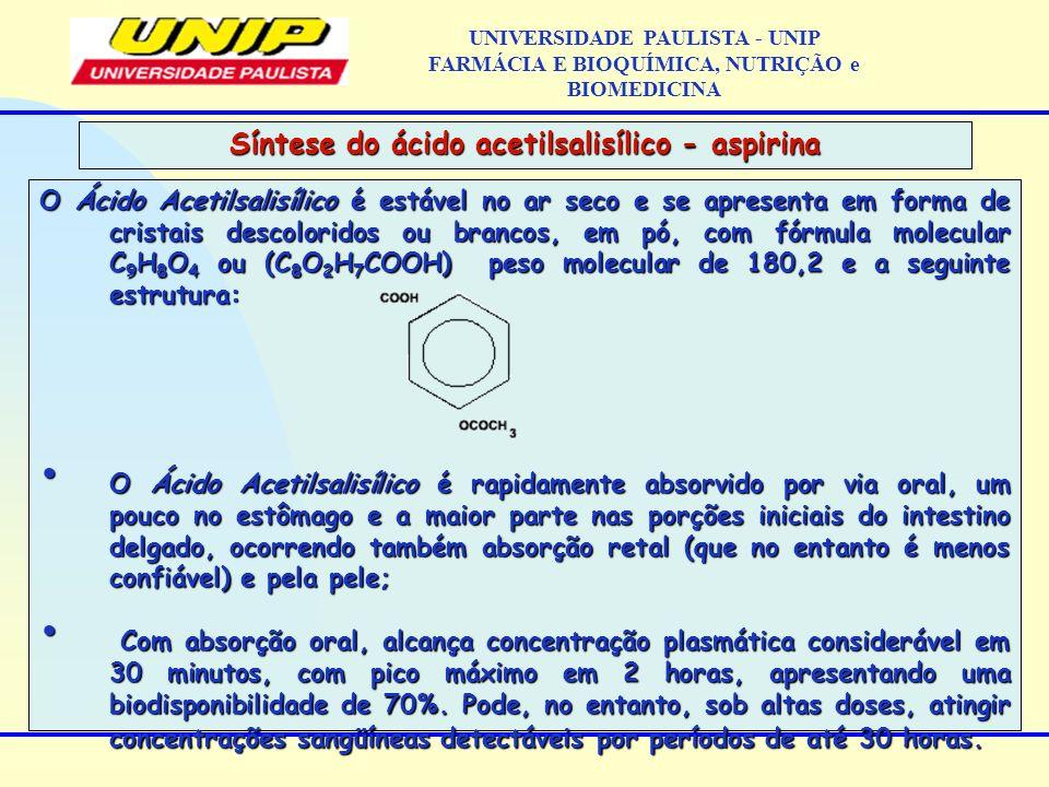 O Ácido Acetilsalisílico é estável no ar seco e se apresenta em forma de cristais descoloridos ou brancos, em pó, com fórmula molecular C 9 H 8 O 4 ou