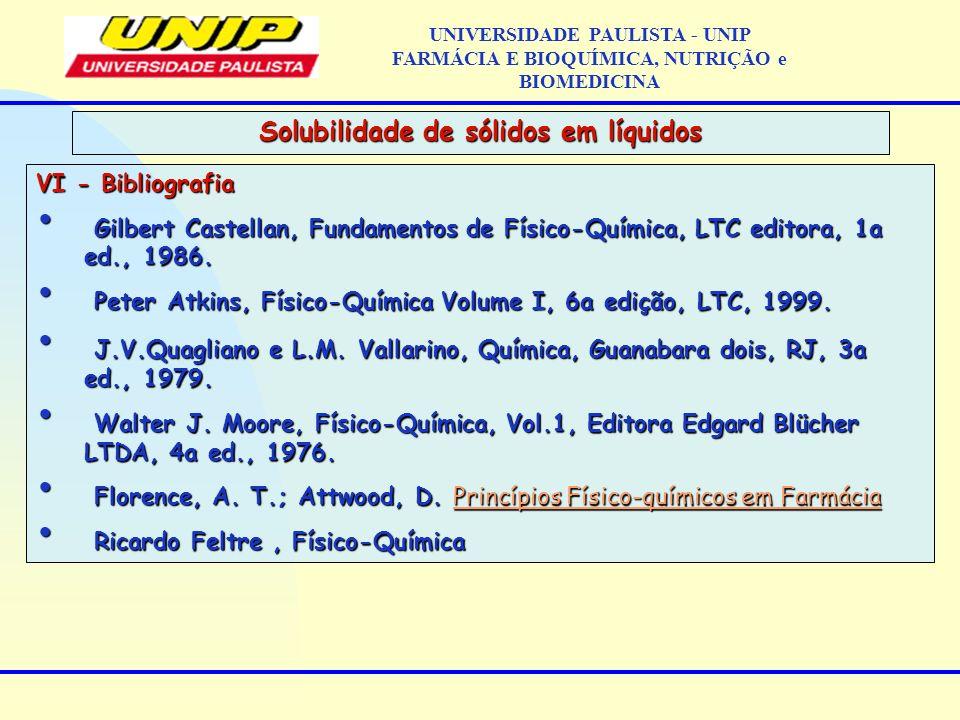 VI - Bibliografia Gilbert Castellan, Fundamentos de Físico-Química, LTC editora, 1a ed., 1986. Gilbert Castellan, Fundamentos de Físico-Química, LTC e