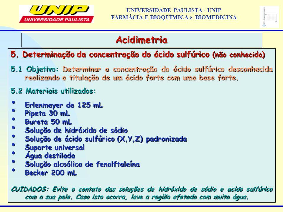 5. Determinação da concentração do ácido sulfúrico (não conhecida) 5.1 Objetivo: Determinar a concentração do ácido sulfúrico desconhecida realizando