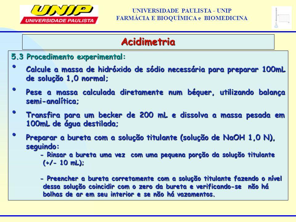 5.3 Procedimento experimental: Calcule a massa de hidróxido de sódio necessária para preparar 100mL de solução 1,0 normal; Calcule a massa de hidróxid