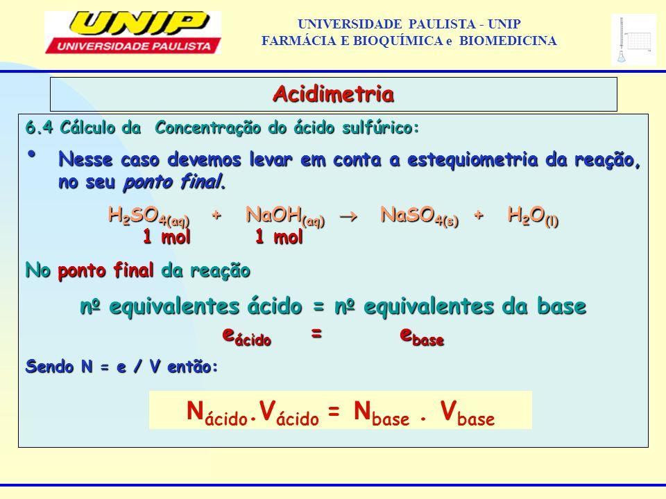 6.4 Cálculo da Concentração do ácido sulfúrico: Nesse caso devemos levar em conta a estequiometria da reação, no seu ponto final. Nesse caso devemos l
