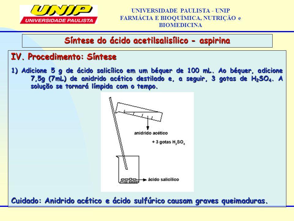 IV. Procedimento: Síntese 1) Adicione 5 g de ácido salicílico em um béquer de 100 mL. Ao béquer, adicione 7,5g (7mL) de anidrido acético destilado e,
