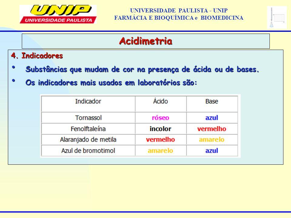 4. Indicadores Substâncias que mudam de cor na presença de ácida ou de bases. Substâncias que mudam de cor na presença de ácida ou de bases. Os indica