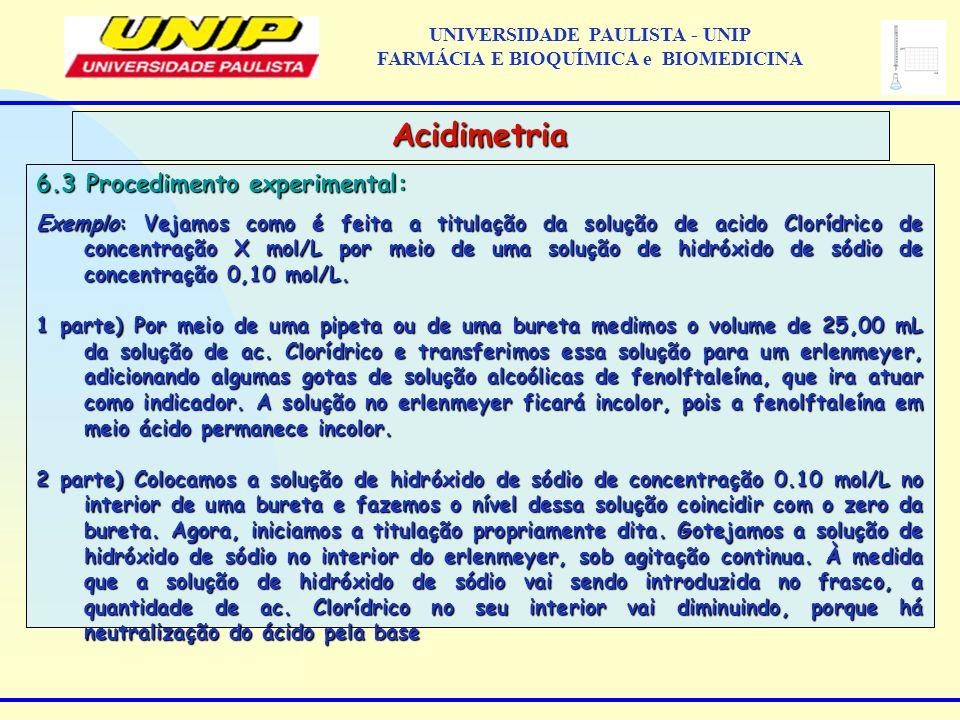 6.3 Procedimento experimental: Exemplo: Vejamos como é feita a titulação da solução de acido Clorídrico de concentração X mol/L por meio de uma soluçã