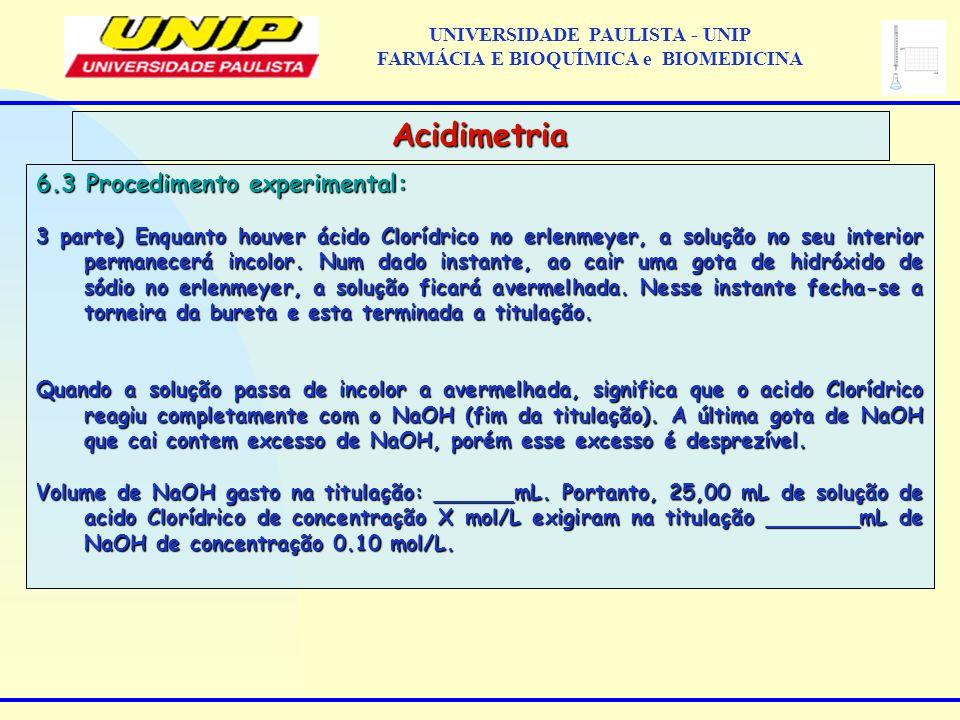 6.3 Procedimento experimental: 3 parte) Enquanto houver ácido Clorídrico no erlenmeyer, a solução no seu interior permanecerá incolor. Num dado instan