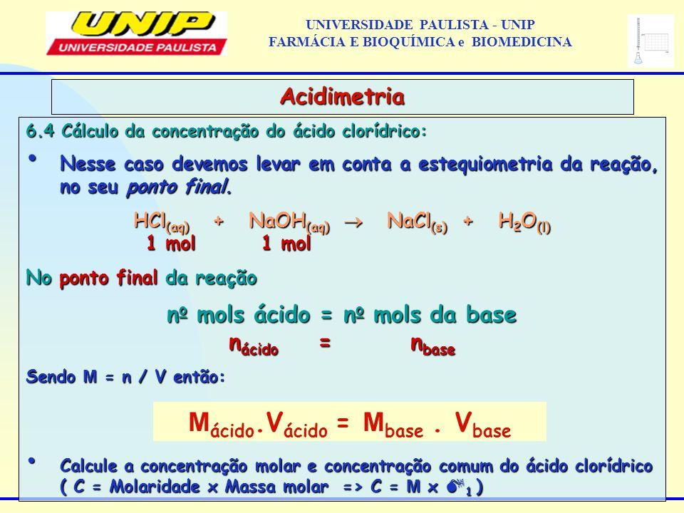 6.4 Cálculo da concentração do ácido clorídrico: Nesse caso devemos levar em conta a estequiometria da reação, no seu ponto final. Nesse caso devemos
