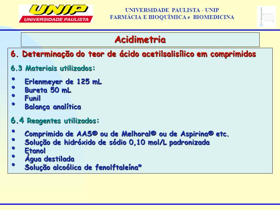 6. Determinação do teor de ácido acetilsalisílico em comprimidos 6.3 Materiais utilizados : Erlenmeyer de 125 mL Erlenmeyer de 125 mL Bureta 50 mL Bur