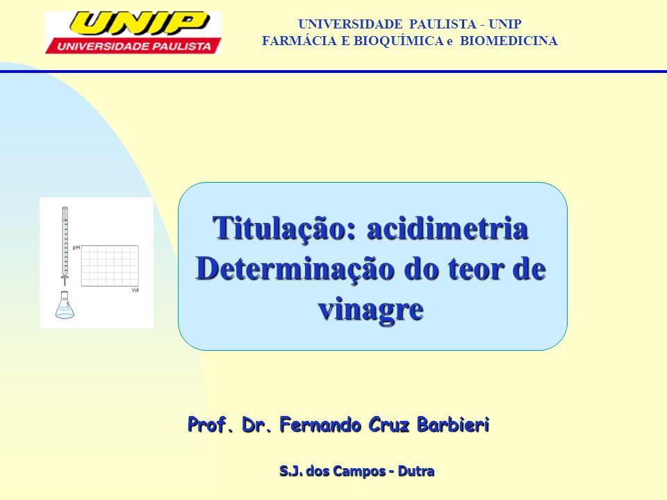 S.J. dos Campos - Dutra Prof. Dr. Fernando Cruz Barbieri UNIVERSIDADE PAULISTA - UNIP FARMÁCIA E BIOQUÍMICA e BIOMEDICINA Titulação: acidimetria Deter