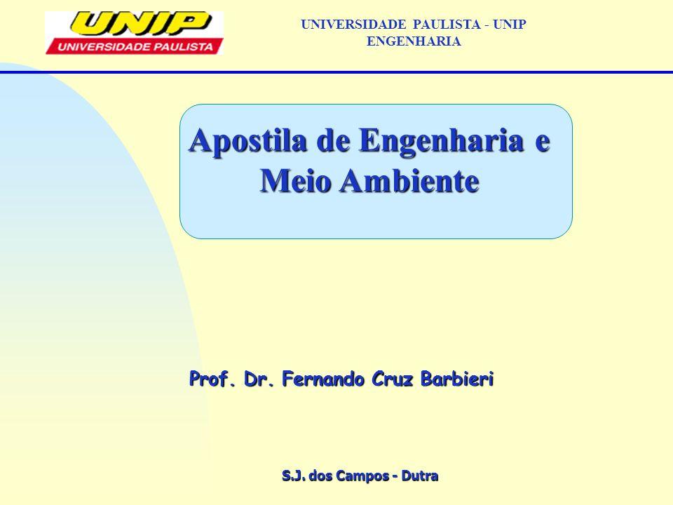 S.J. dos Campos - Dutra Prof. Dr. Fernando Cruz Barbieri UNIVERSIDADE PAULISTA - UNIP ENGENHARIA Apostila de Engenharia e Meio Ambiente