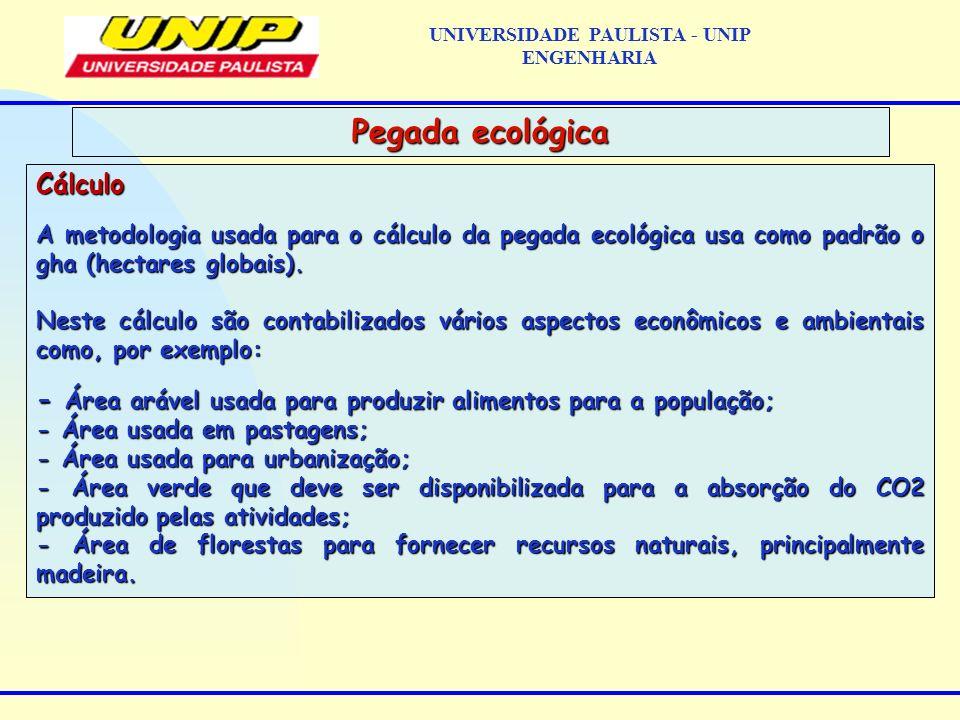 Cálculo A metodologia usada para o cálculo da pegada ecológica usa como padrão o gha (hectares globais). Neste cálculo são contabilizados vários aspec