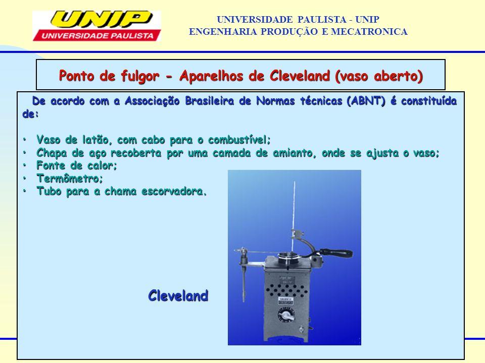 Ponto de fulgor - Aparelhos de Cleveland (vaso aberto) De acordo com a Associação Brasileira de Normas técnicas (ABNT) é constituída de: Vaso de latão, com cabo para o combustível; Vaso de latão, com cabo para o combustível; Chapa de aço recoberta por uma camada de amianto, onde se ajusta o vaso; Chapa de aço recoberta por uma camada de amianto, onde se ajusta o vaso; Fonte de calor; Fonte de calor; Termômetro; Termômetro; Tubo para a chama escorvadora.
