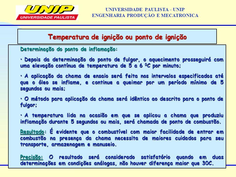 Temperatura de ignição ou ponto de ignição Determinação do ponto de inflamação: Depois da determinação do ponto de fulgor, o aquecimento prosseguirá com uma elevação contínua de temperatura de 5 a 6 0 C por minuto; Depois da determinação do ponto de fulgor, o aquecimento prosseguirá com uma elevação contínua de temperatura de 5 a 6 0 C por minuto; A aplicação da chama de ensaio será feita nos intervalos especificados até que o óleo se inflame, e continue a queimar por um período mínimo de 5 segundos ou mais; A aplicação da chama de ensaio será feita nos intervalos especificados até que o óleo se inflame, e continue a queimar por um período mínimo de 5 segundos ou mais; O método para aplicação da chama será idêntico ao descrito para o ponto de fulgor; O método para aplicação da chama será idêntico ao descrito para o ponto de fulgor; A temperatura lida na ocasião em que se aplicou a chama que produziu inflamação durante 5 segundos ou mais, será chamada de ponto de combustão.