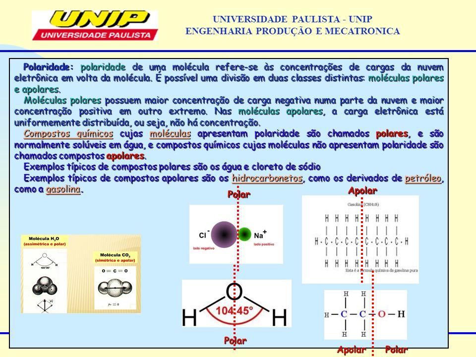 Polaridade: polaridade de uma molécula refere-se às concentrações de cargas da nuvem eletrônica em volta da molécula.