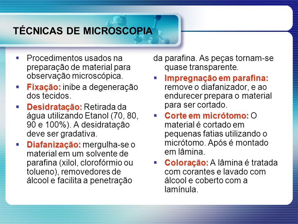 TÉCNICAS DE MICROSCOPIA Procedimentos usados na preparação de material para observação microscópica. Fixação: Fixação: inibe a degeneração dos tecidos