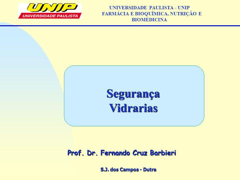 S.J. dos Campos - Dutra Prof. Dr. Fernando Cruz Barbieri UNIVERSIDADE PAULISTA - UNIP FARMÁCIA E BIOQUÍMICA, NUTRIÇÂO E BIOMEDICINASegurançaVidrarias