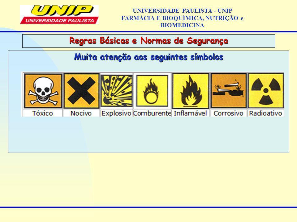 Muita atenção aos seguintes símbolos Regras Básicas e Normas de Segurança UNIVERSIDADE PAULISTA - UNIP FARMÁCIA E BIOQUÍMICA, NUTRIÇÃO e BIOMEDICINA
